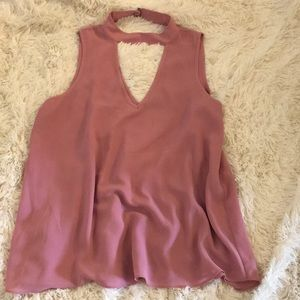 Pink keyhole tank top